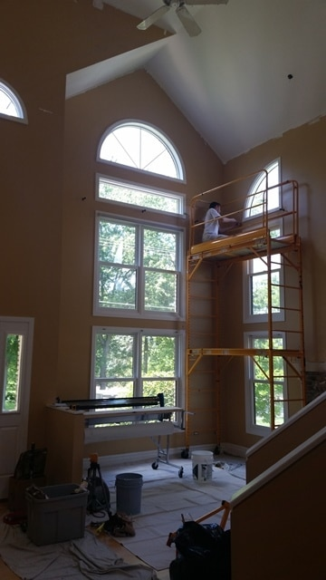 Getting Rid Of Two Story Foyer : Wallpaper installation multi story foyer dfranco finishes