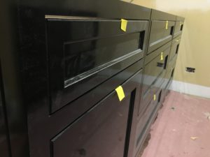 high gloss black paint cabinets