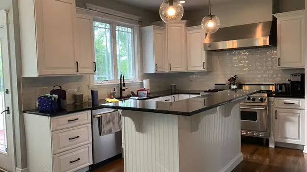 maple cabinets painted white