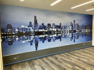after commercial wallpaper installation