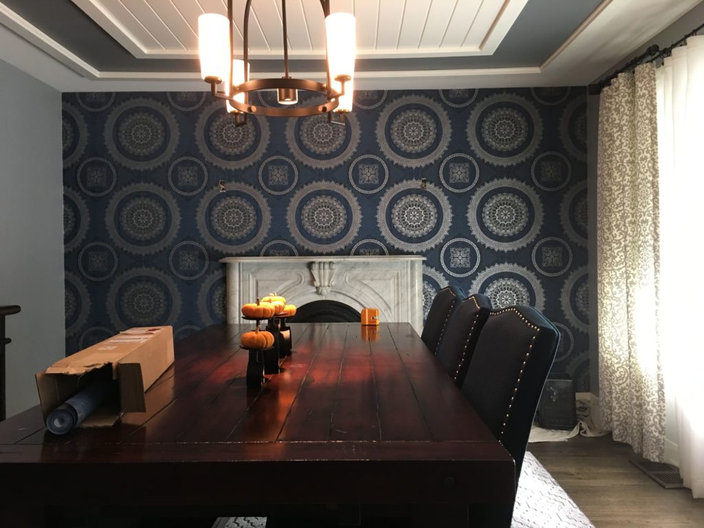 dining room wallpaper accent wall